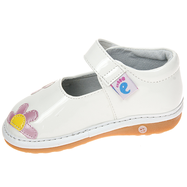 toddler faux leather squeaky shoes patent white