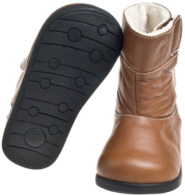 Girls Boys Toddler Kids Leather Brown Tan Fleece Lined Boots Size ...